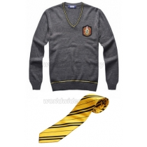 Hufflepuff Cosplay Sweater Necktie Badge from Harry Potter Free Shipping for Halloween and Christmas