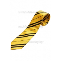 Hufflepuff Cosplay Golden Black Necktie from Harry Potter Free Shipping for Halloween and Christmas