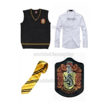 Harry Potter Hufflepuff Cosplay Vest Shirt Necktie Badge Free Shipping for Halloween and Christmas