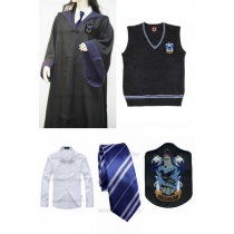 Free Shipping Harry Potter Ravenclaw Cosplay Robe Vest Shirt Necktie Badge for Halloween and Christmas