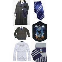 Free Shipping Harry Potter Ravenclaw Cosplay Robe Sweater Shirt Necktie Badge Hat Scarf Custom Made for Halloween and Christmas