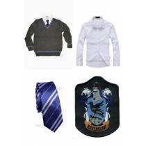 Free Shipping Harry Potter Ravenclaw Cosplay Sweater Shirt Necktie Badge for Halloween and Christmas