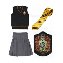 Hufflepuff Charcoal Grey Cosplay Vest Skirt Badge from Harry Potter Free Shipping for Halloween and Christmas