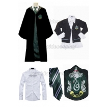 Free Shipping Harry Potter Slytherin Draco Malfoy Cosplay Robe Sweater Shirt Necktie for Halloween and Christmas