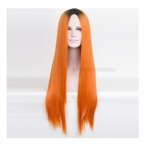 Kylie Jenner Orange Straight Cosplay Wig with Black Top Free Shipping for Halloween and Christmas