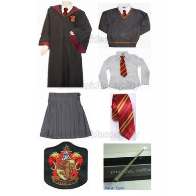 Free Shipping Harry Potter Gryffindor Hermione Granger Cosplay Robe Skirt Uniform Wand for Halloween and Christmas