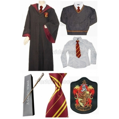 Free Shipping Griffindor Cosplay Robe Sweater Shirt Harry Potter Glowing Magic Wand for Halloween and Christmas