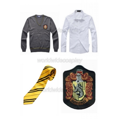 Harry Potter Hufflepuff Cosplay Sweater Shirt Necktie Badge for Halloween and Christmas