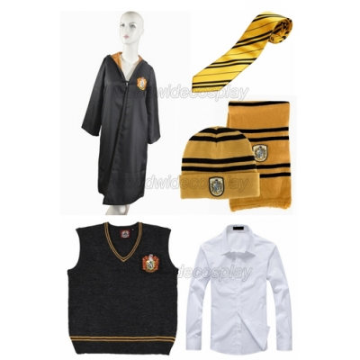 Free Shipping Harry Potter Hufflepuff Cosplay Robe Vest Shirt Necktie Badge Hat Scarf for Halloween and Christmas