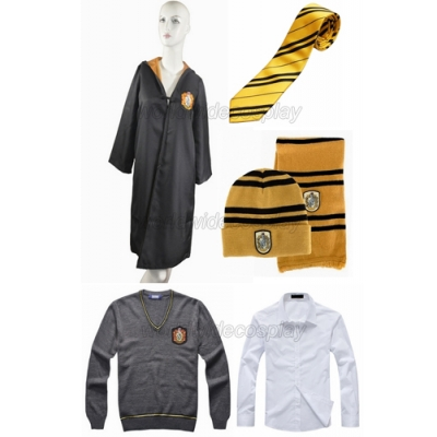 Free Shipping Harry Potter Hufflepuff Cosplay Robe Sweater Shirt Necktie Badge Hat Scarf for Halloween and Christmas