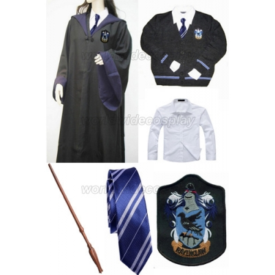 Free Shipping Harry Potter Ravenclaw Luna Lovegood Cosplay Robe Skirt Uniform Magic Wand Custom Made for Halloween and Christmas