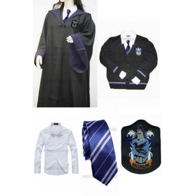 Free Shipping Ravenclaw Cosplay Robe Sweater Shirt Necktie Badge from Harry Potter for Halloween and Christmas