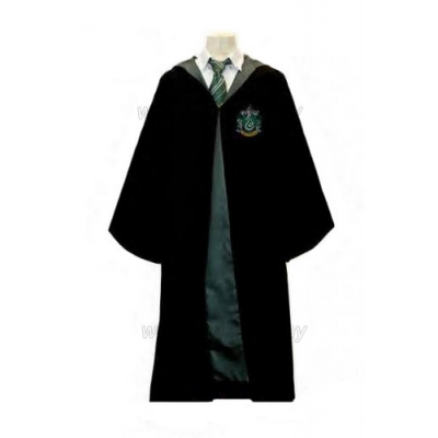 Free Shipping Harry Potter Slytherin House Robe Sweater Shirt Necktie Hat Scarf Custom Made for Halloween and Christmas
