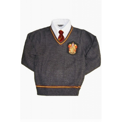 Gryffindor House Cosplay Long Sleeve Sweater and Necktie from Harry Potter Free Shipping for Halloween and Christmas
