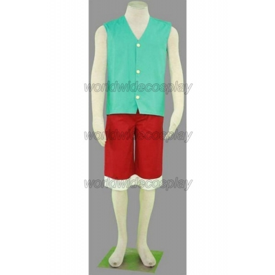 One Piece Monkey D. Luffy Lake Blue Cosplay Costume Free Shipping for Halloween and Christmas