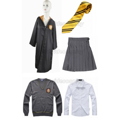 Free Shipping Harry Potter Hufflepuff Cosplay Robe Sweater Shirt Skirt Necktie Custom Made for Halloween and Christmas