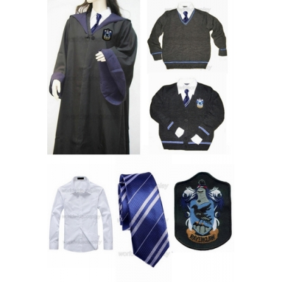 Free Shipping Harry Potter Ravenclaw Cosplay Robe Sweater Cardigan Shirt Necktie Custom Made