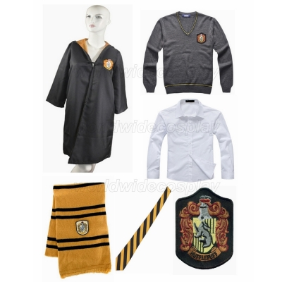 Free Shipping Harry Potter Hufflepuff Cosplay Robe Sweater Wide Necktie Scarf Badge for Halloween and Christmas
