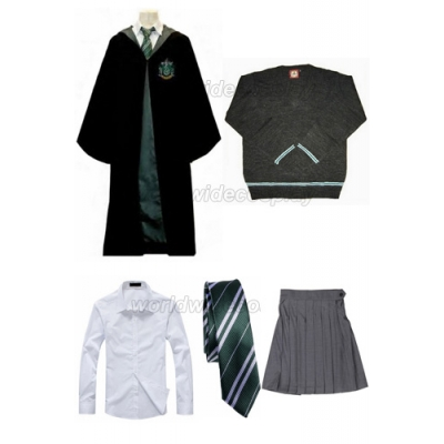 Free Shipping Harry Potter Slytherin Cosplay Robe Sweater Shirt Skirt Necktie Badge for Halloween and Christmas