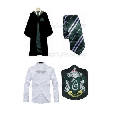 Free Shipping Harry Potter Slytherin Draco Malfoy Cosplay Robe Shirt Necktie Badge for Halloween and Christmas