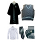 Free Shipping Harry Potter Slytherin Draco Malfoy Cosplay Robe Charcoal Grey Vest Shirt Hat Scarf for Halloween and Christmas